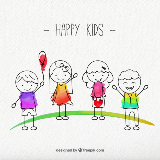 626x626 Sketches Happy Kids Pack Vector Free Download