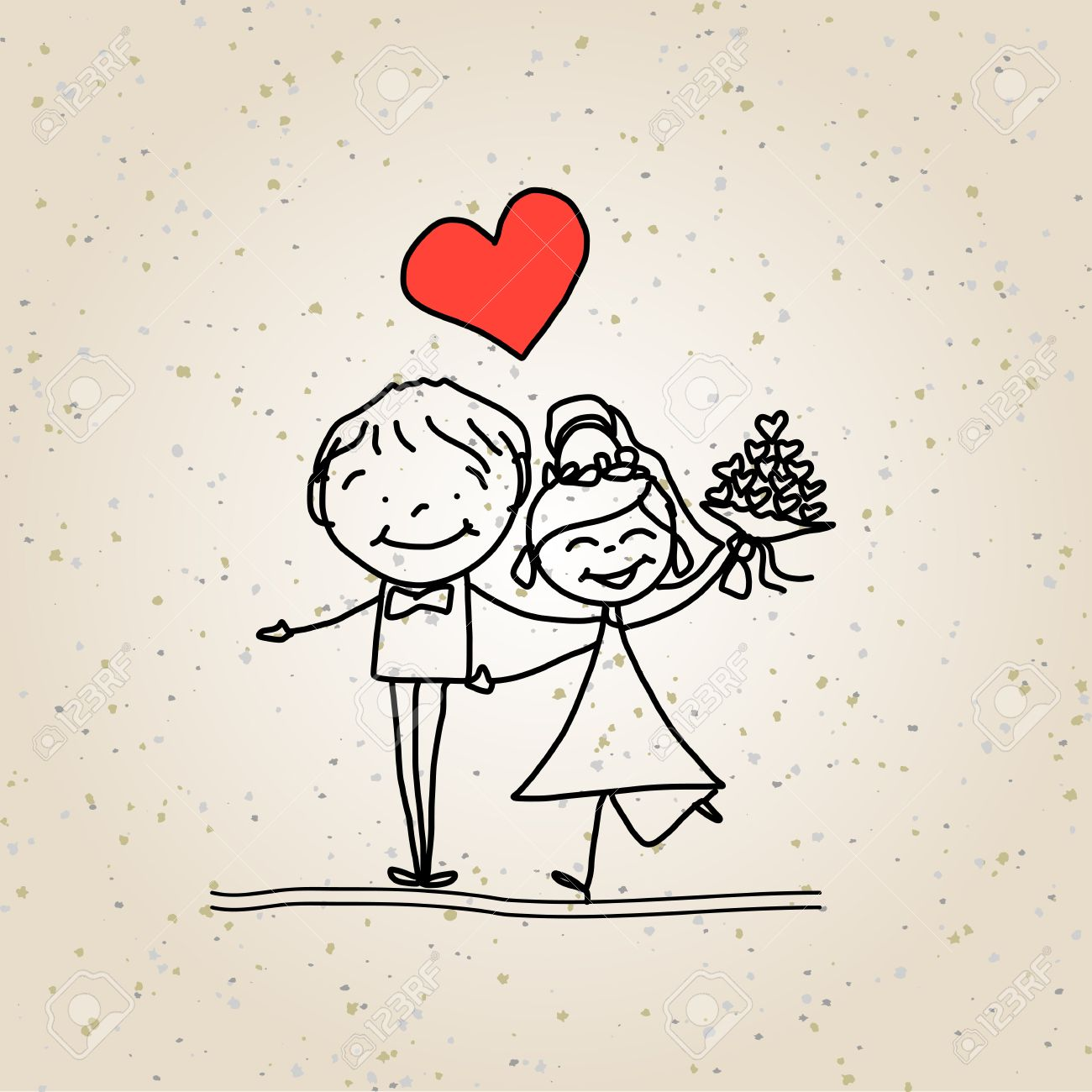 1300x1300 Hand Drawing Cartoon Happy Couple Wedding Royalty Free Cliparts