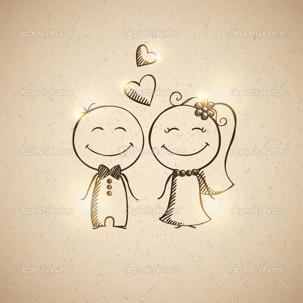 1024x1024 Wedding Couple Drawing Hand Drawn Wedding Couple