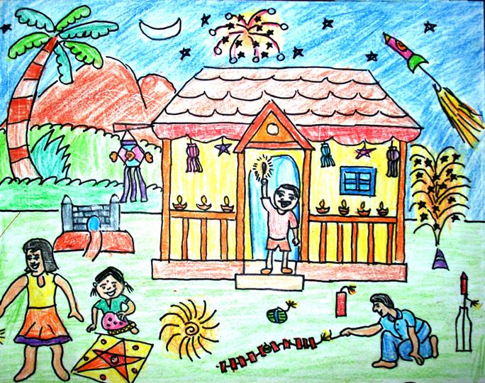 684x540 Deepavali Festival Drawing For Kids