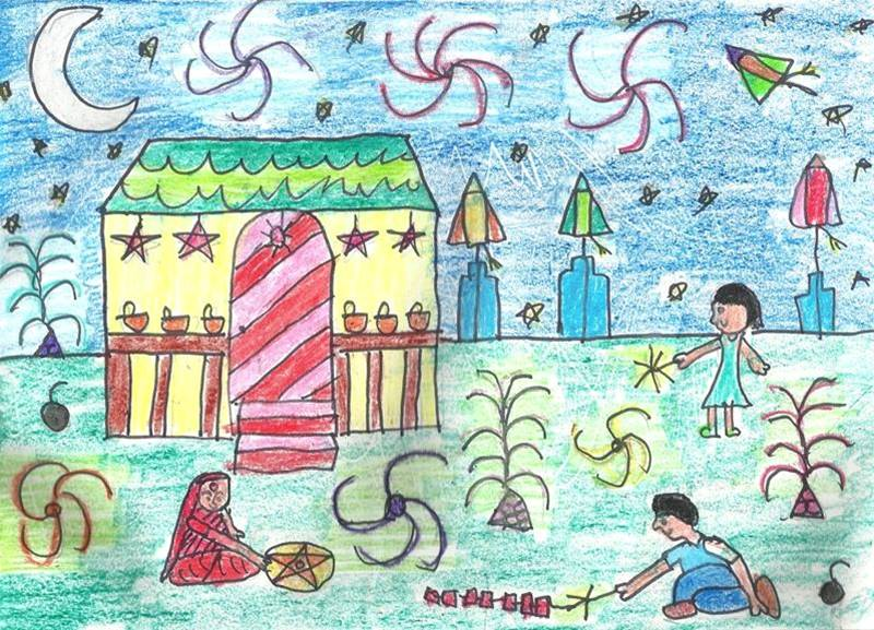 800x577 Diwali Paintings, Scene, Drawing Pictures, Sketch For Kids Happy