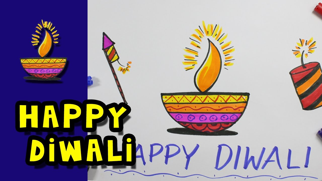 1280x720 Happy Diwali 2016 Colour Drawing