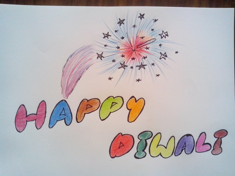 3000x2250 How To Draw Happy Diwali With Fireworks