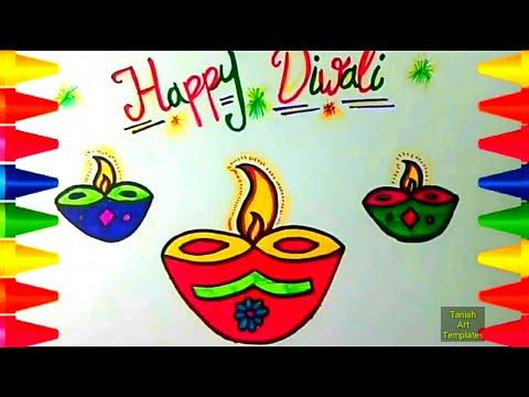 480x360 How To Draw Happy Diwali Drawing Greeting 2017