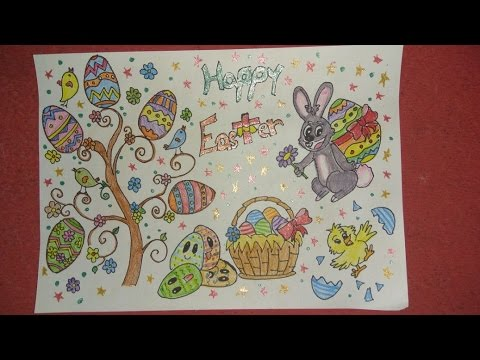 480x360 Easter Drawings For Kids, How To Draw A Cartoon Easter Bunny