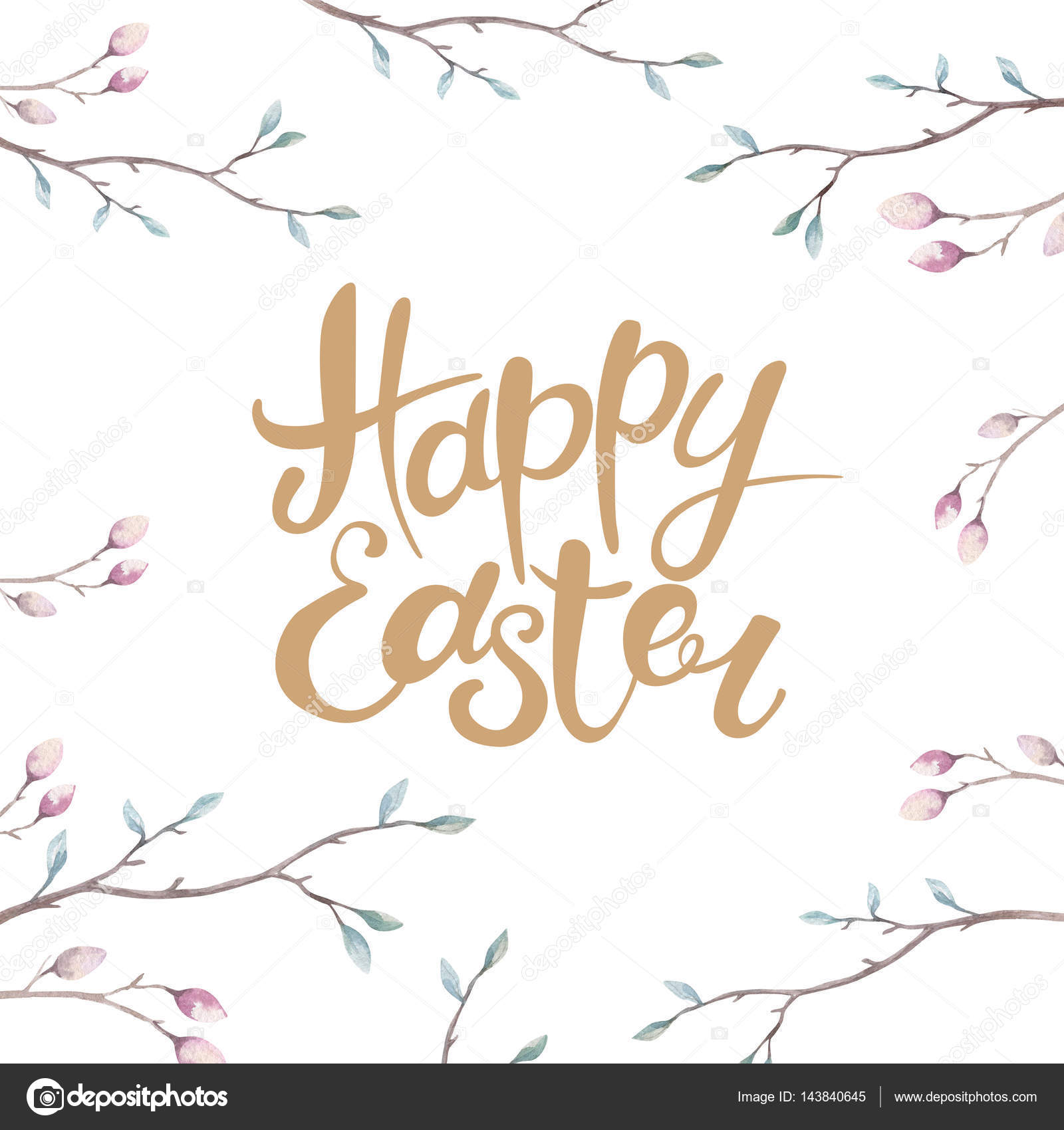 1600x1700 Hand Drawing Happy Easter Watercolor With Leaves, Branches