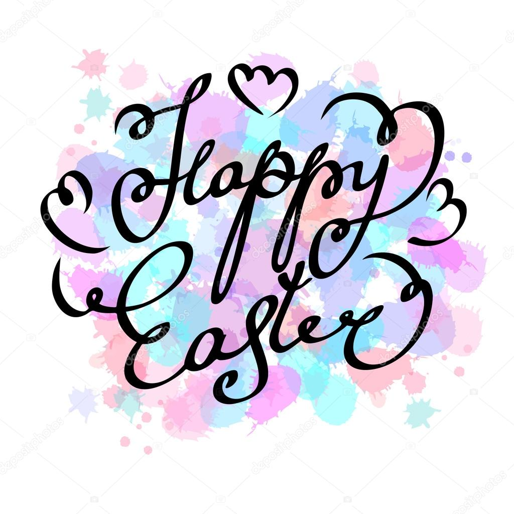 1024x1024 Happy Easter Cards Illustration Hand Draw Calligraphic Unique Font