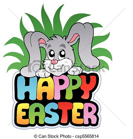 450x470 Happy Easter Sign With Cute Bunny