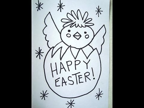 480x360 How To Draw, Easter Chick, Egg, Happy Easter, Card, Sign