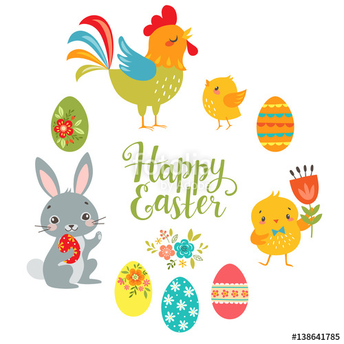 500x500 Set Of Cute Easter Design Elements Bunny, Chicks, Rooster, Eggs