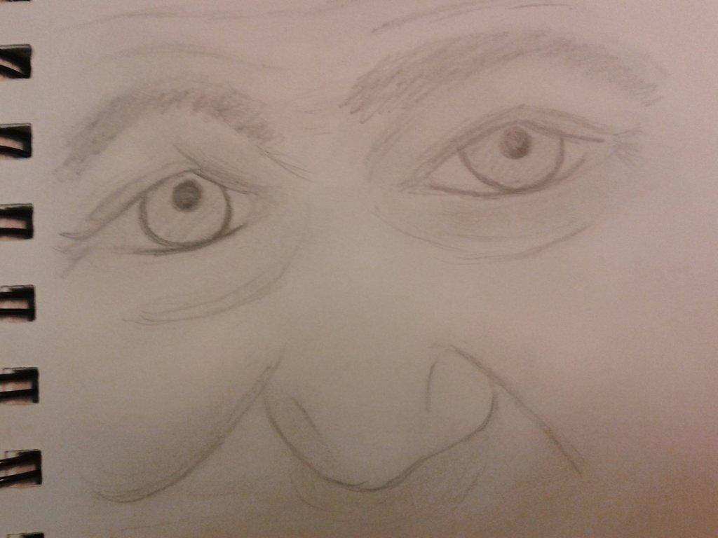 1024x768 Old Man Eyes Sketch By Sick Happy
