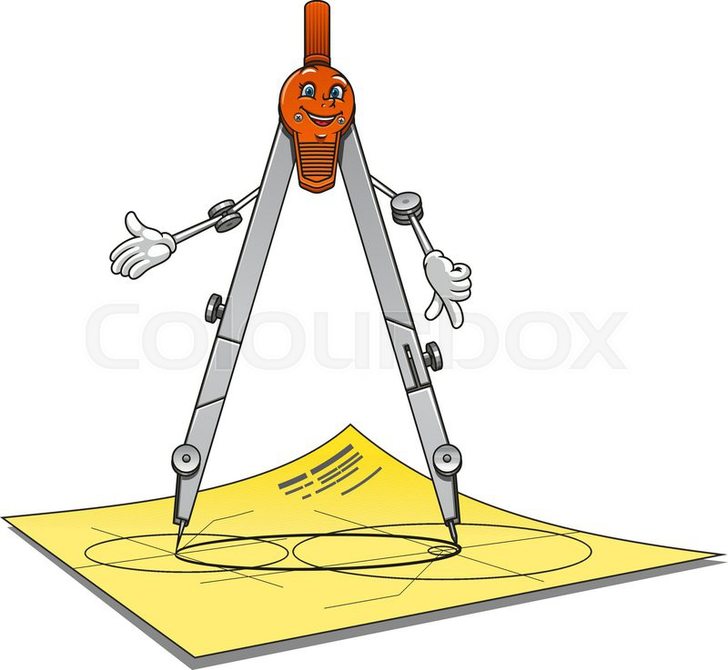 800x737 Cartoon School Or Architecture Compass Character With Happy
