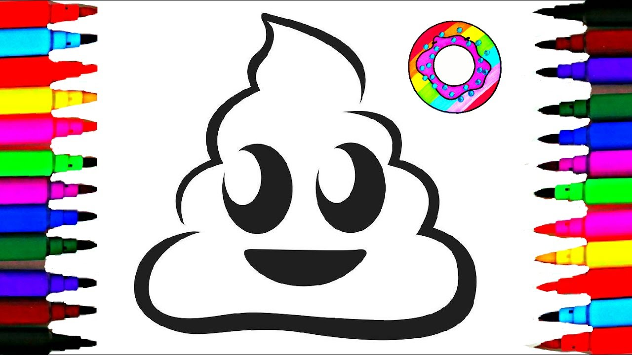 1280x720 Learn Colors Coloring Poop Emoji Coloring Pages L Happy Faces Poop