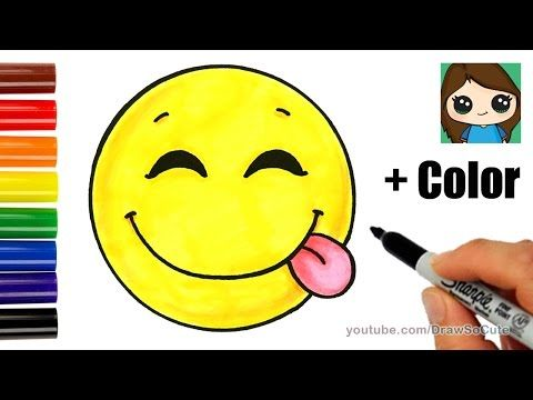 480x360 Cool How To Draw A Silly Happy Face Emoji With Coloring Easy