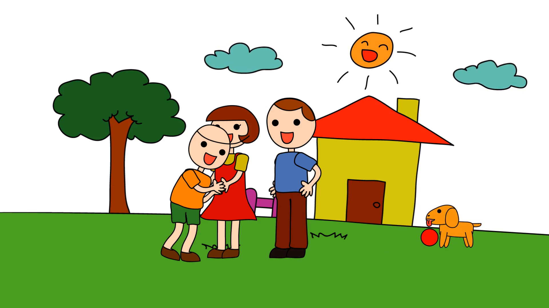 1920x1080 Animation Cartoon Of A Kindergarten Drawing Of A Child In A Happy