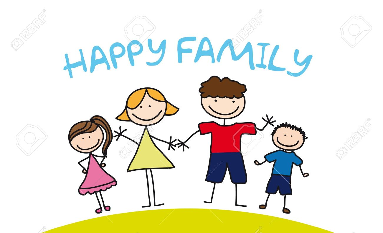1300x789 Happy Family Drawing Over Grass. Illustration Royalty Free