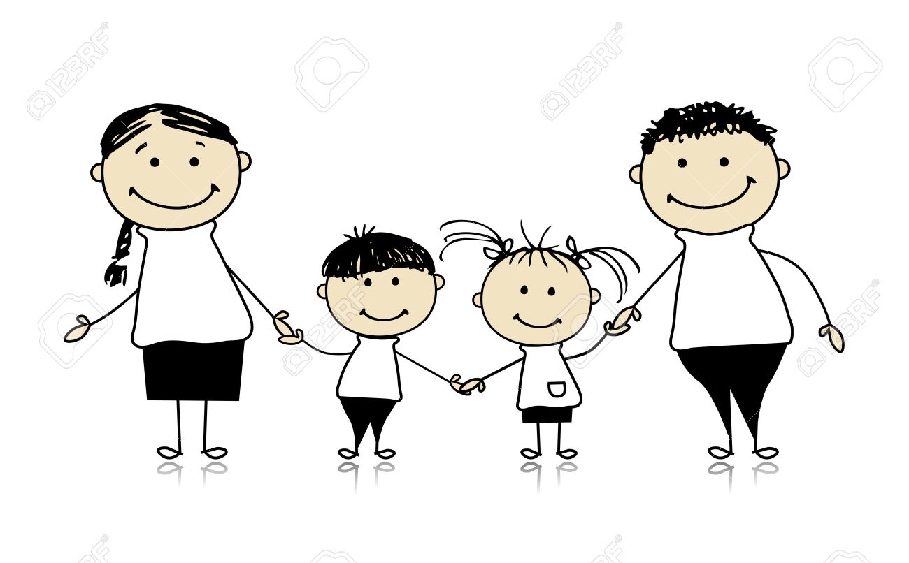 1300x806 Happy Family Smiling Together, Drawing Sketch Royalty Free