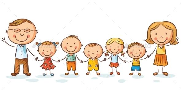 590x296 Happy Family With Many Children By Katya Dav Graphicriver
