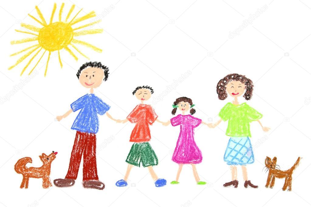 1023x682 Happy Family Drawing Stock Photo Studiobarcelona