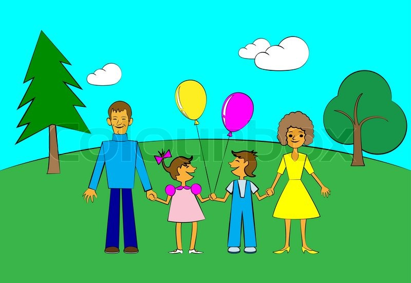 800x551 Happy Family In Style Of Children's Drawing. No Gradient. Stock