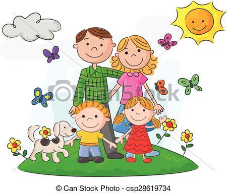 450x383 Vector Illustration Of Happy Family Cartoon Against A Vectors
