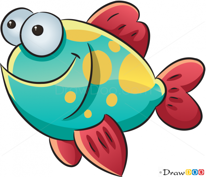 665x572 How to Draw Happy Fish, Sea Animals