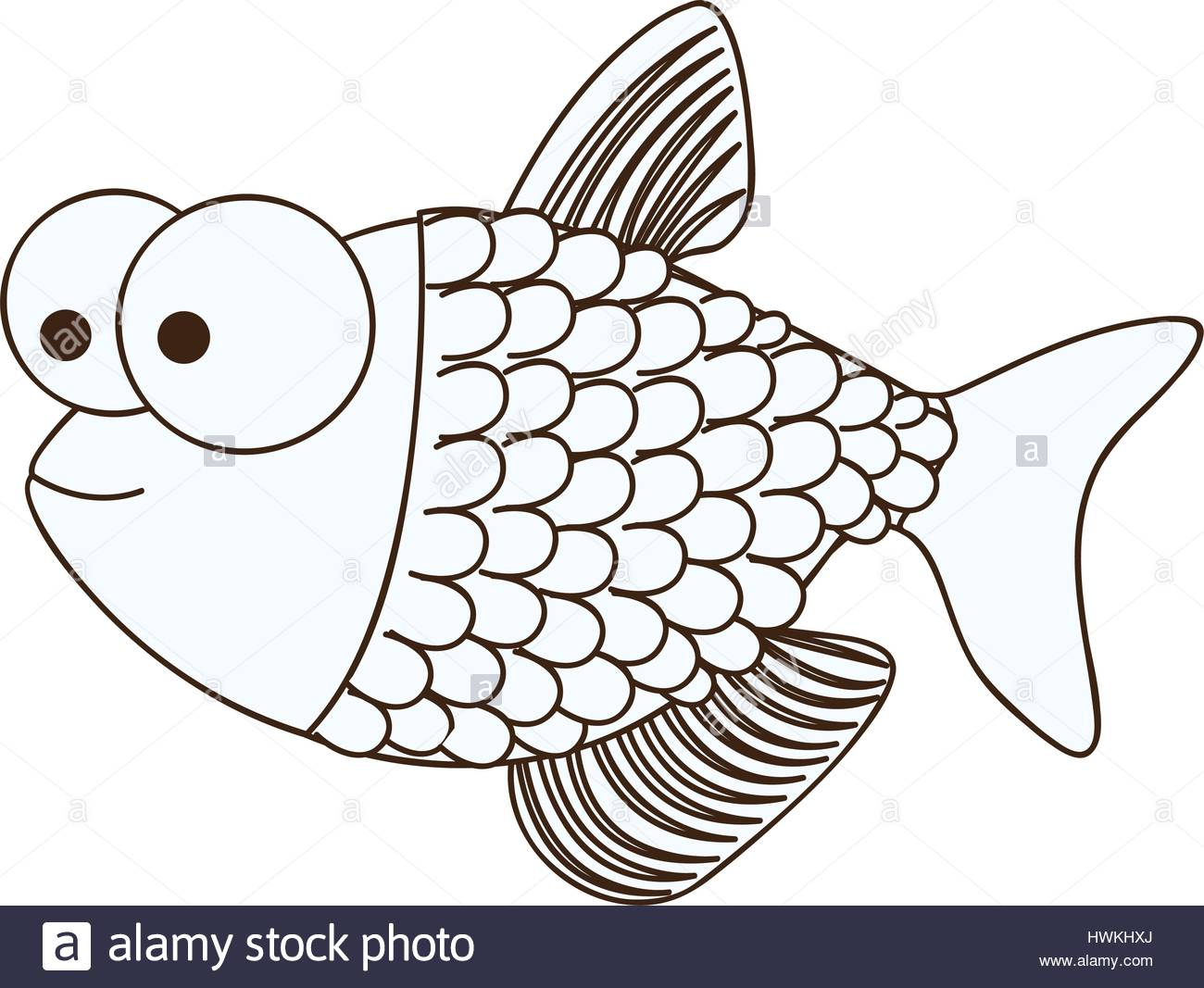 1300x1067 figure happy fish scalescartoon icon Stock Vector Art