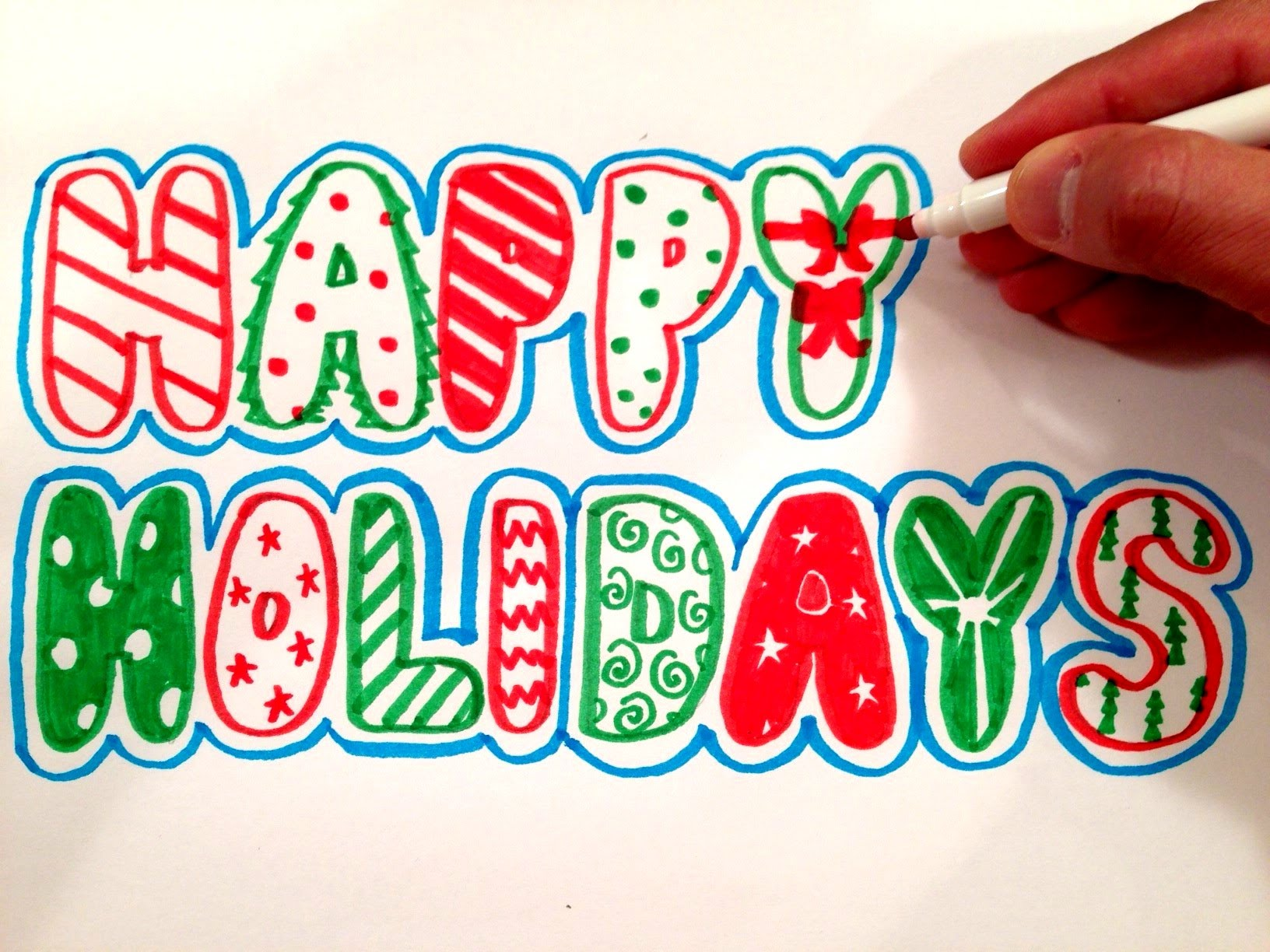 1632x1224 How To Draw Happy Holidays In Bubble Letters