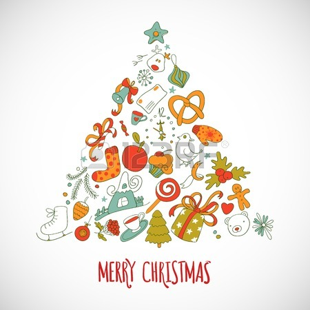 450x450 Vector Christmas Drawing Decor.vintage New Year Background. Happy