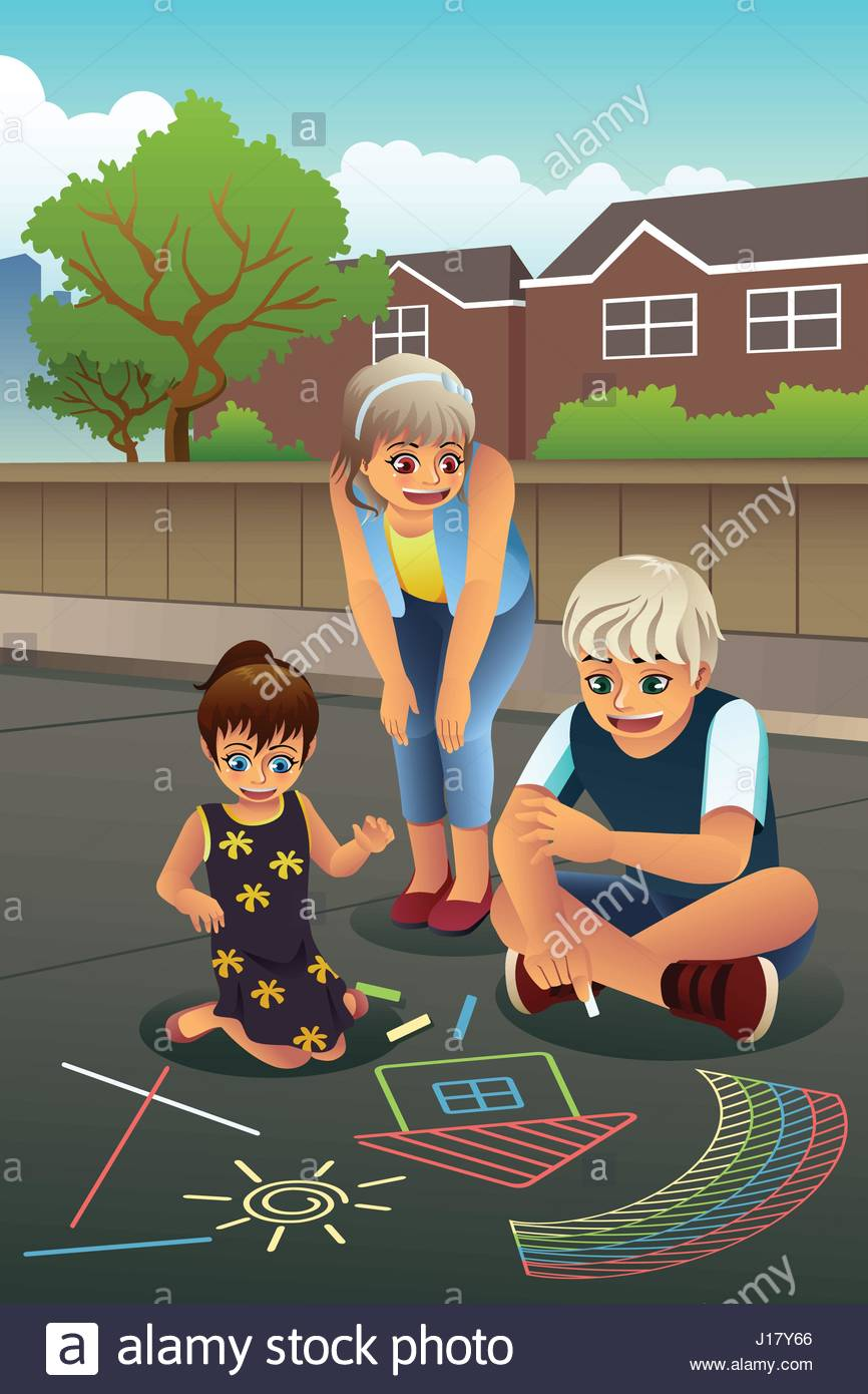 866x1390 A Vector Illustration Of Happy Kids Drawing With Chalk On