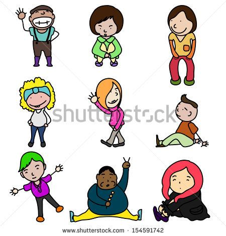 450x470 Cute Doodle Happy Kids Isolated On White Background Active, Art