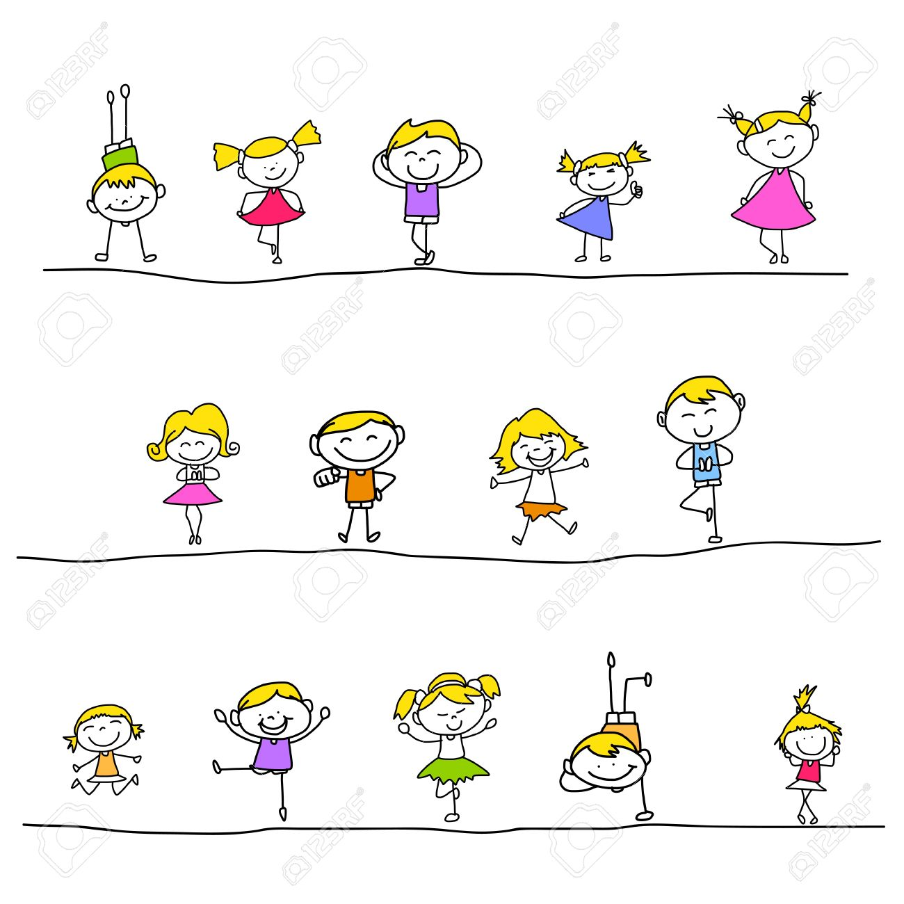 1300x1300 Hand Drawing Cartoon Happy Kids Playing Royalty Free Cliparts