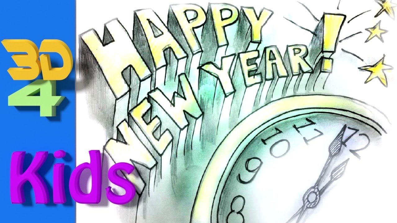 1280x720 Easy Handlettering Drawing Happy New Year 2018 For Kids Step By