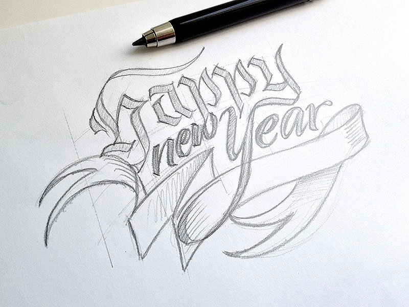 800x600 happy new year 2016 pencil sketch happy new year 2017 pinterest