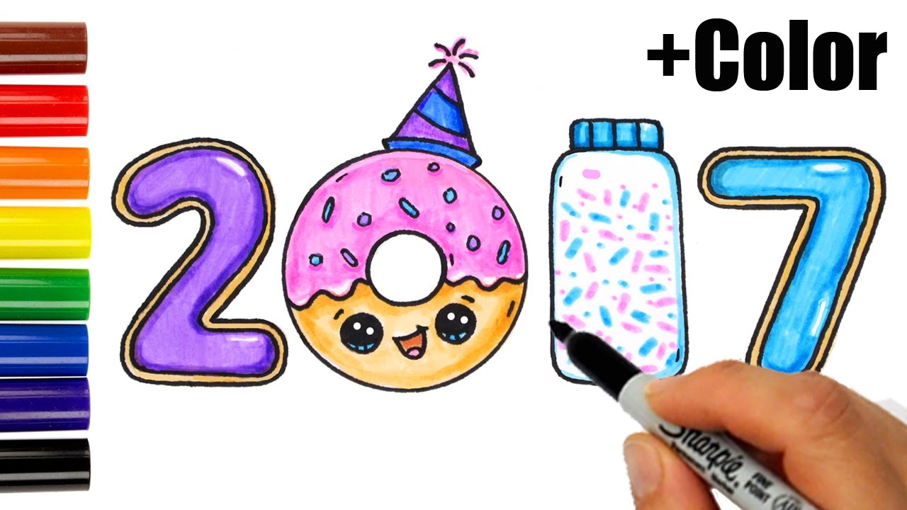 1280x720 How To Draw + Color 2017 As Cookies, Donut, Sprinkles