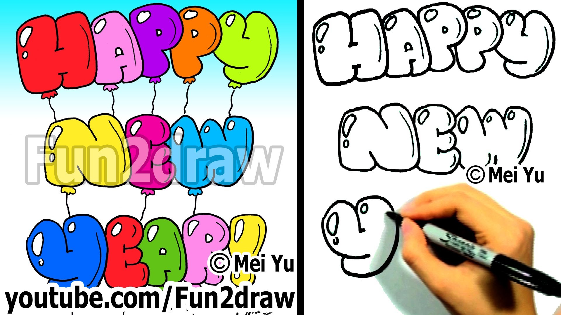 1920x1080 How To Draw Happy New Year Bubble Letters
