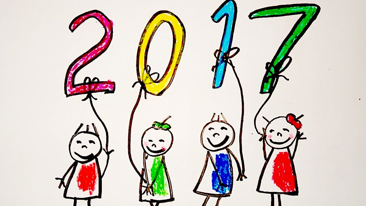 1280x720 New Year Greeting Card Drawing, Happy New Year Drawing For Kids