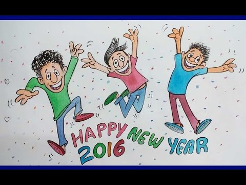 480x360 Wish You Happy New Year 2016 Colour Drawing