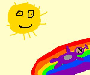 300x250 Dead Tell Tubby On A Rainbow With Happy Sun