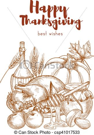 326x470 Happy Thanksgiving Day Greeting Card With Sketch Elements