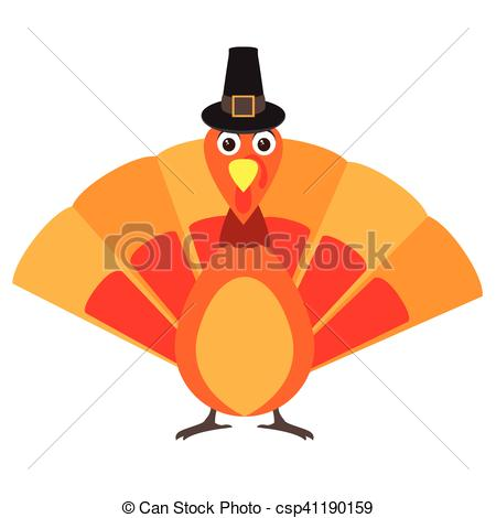 450x470 Happy Thanksgiving Day. Isolated Turkey With A Traditional