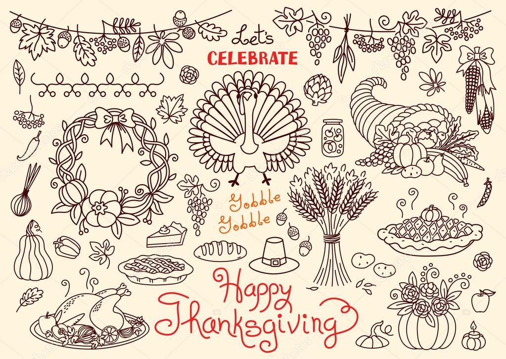 1023x725 Lets Celebrate Happy Thanksgiving Doodles Set. Traditional Symbols