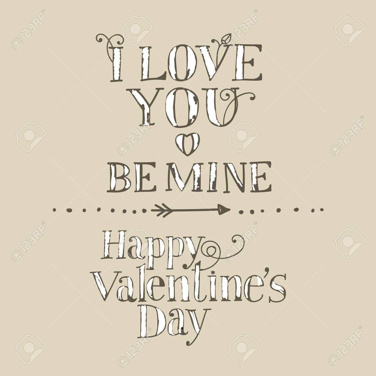 1300x1300 Lettering I Love You, Be Mine, Happy Valentine's Day