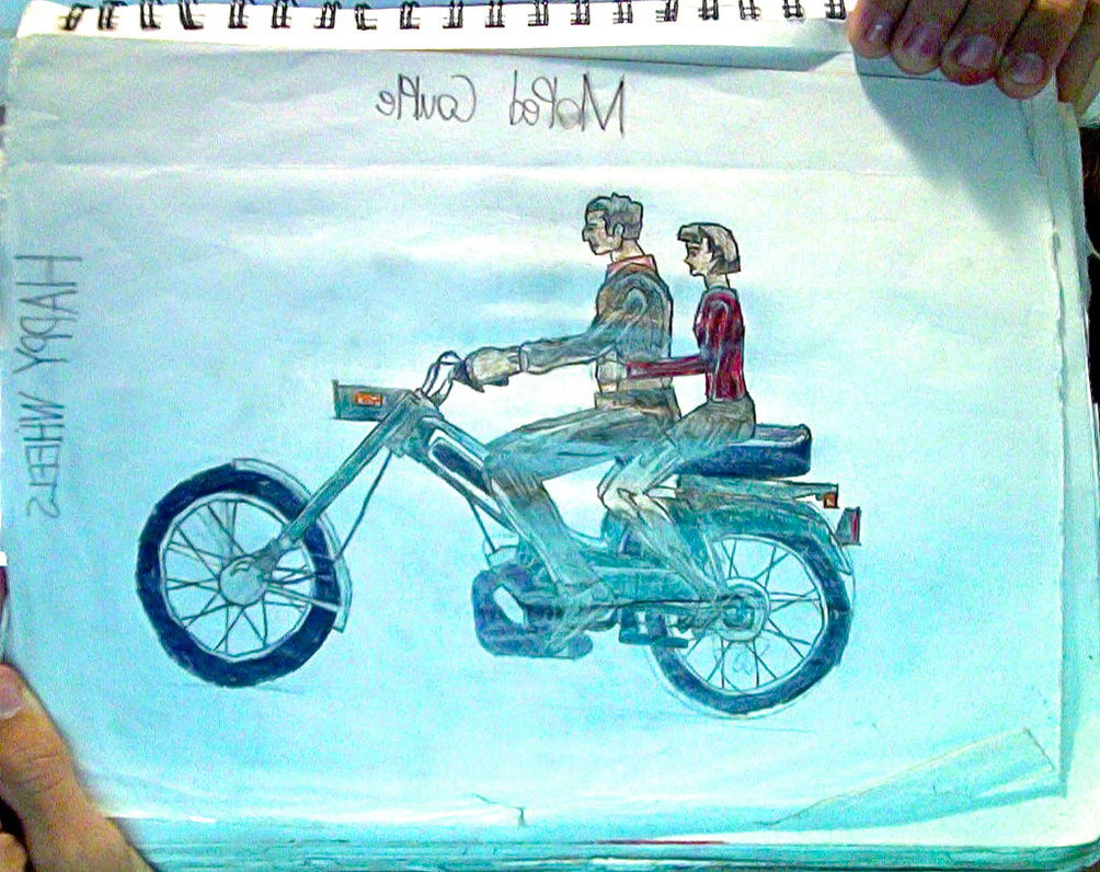 1004x796 Moped Couple From Happy Wheels Drawing By Tannmann64