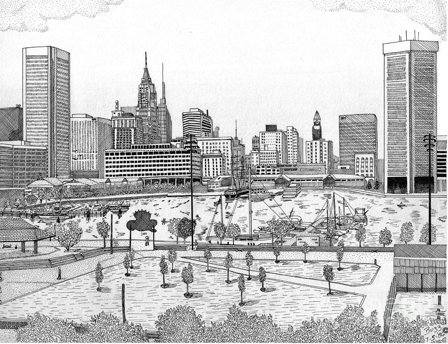 900x691 Batimore Inner Harbor Drawing By Calvert Koerber