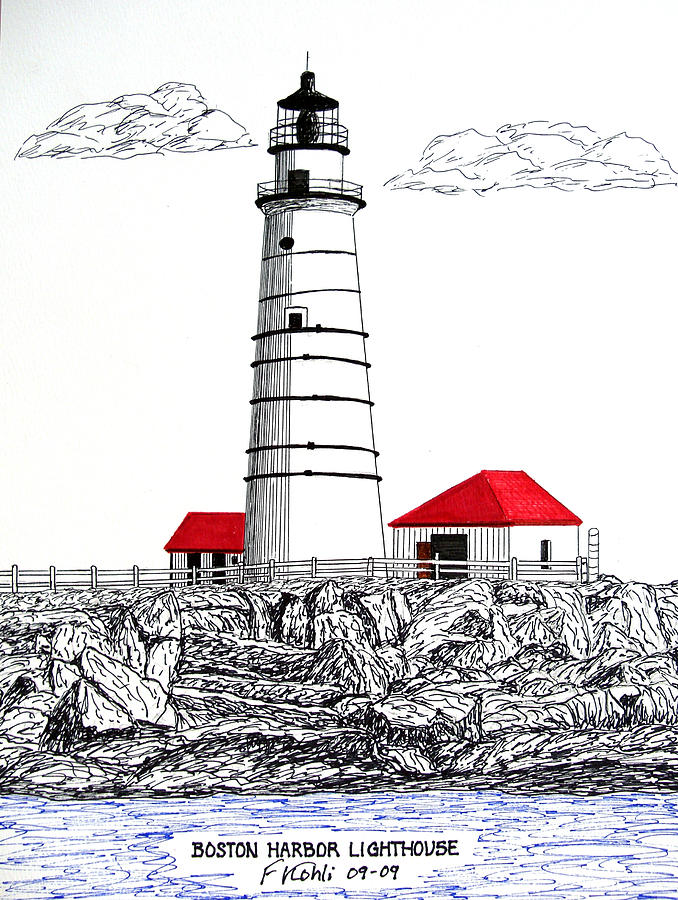 678x900 Boston Harbor Lighthouse Dwg Drawing By Frederic Kohli