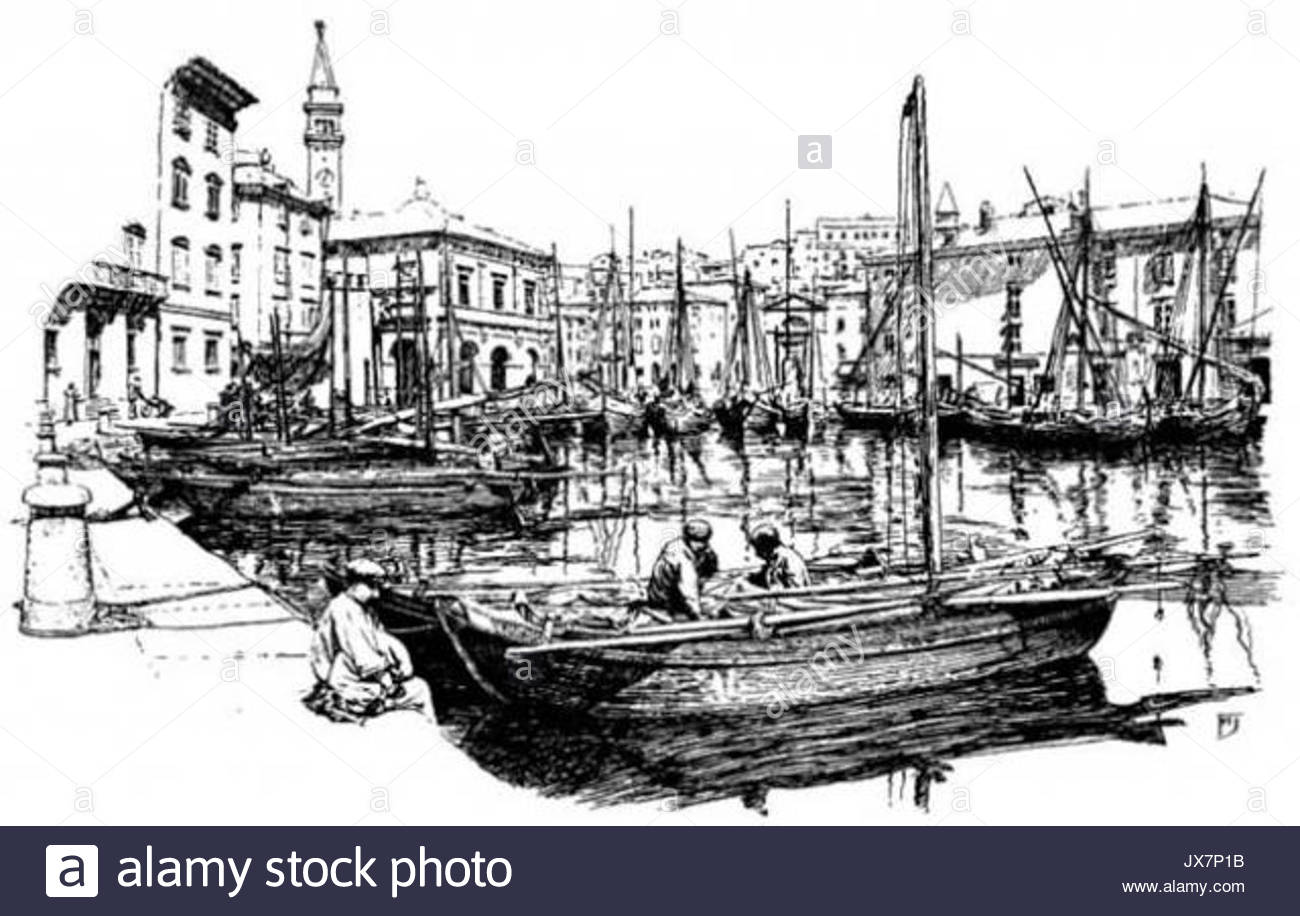 1300x916 Harbor Drawing Stock Photo 153834951
