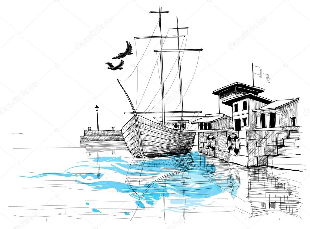1023x757 Harbor Sketch, Boat On Shore Vector Illustration Stock Vector