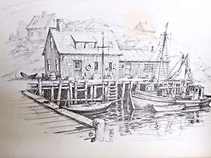 300x225 Jay Killian's Signed, Pencil Drawing Print Of Boats Docked In New
