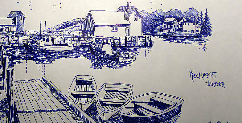 785x399 Rockport Harbor Sketch Drawing By Timothy Bettcher